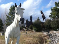 """Running Horses Statues, Outside the Hubbarb Museum of the American West, Hwy 70, in Ruidoso Downs, NM -- Eight larger-than-life, realistically detailed horses run and jump in Dave McGary's """"Free Spirits at Noisy Water."""" Among the breeds depicted are the thoroughbred, quarter horse, appaloosa, paint, and Arabian. Each metal sculpture weighs between 3,000 and 5,000 pounds."""