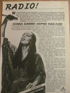 Donna Summer, Full Page Vintage Clipping Dance Music, 1970s Music, Latest Hits, Vintage Clip, The Past, Summer, May 17, 1970s, Piano Man