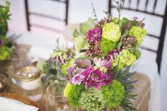 Purple + Green Rustic Wedding Centrepiece    The Flower Shop @ WG    www.WeddingGirl.ca