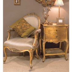 Versailles Gold Bedside Table | Bedside Table - Gold French Bedside table