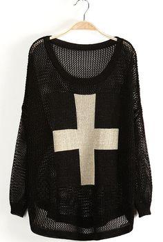 Jersey+metal+estampado+Cruz+mangas+largas-Negro
