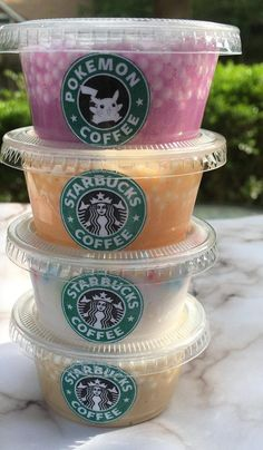 Starbucks Inspired Pokemon GO Slime Bundle (Set of 16 oz. Scented Fluffy Floam Birthday Slime, P Starbucks Slime, Starbucks Drinks, Diy Crafts Slime, Slime Craft, Perfect Slime, Slime Containers, Pretty Slime, Slimy Slime, Slime And Squishy