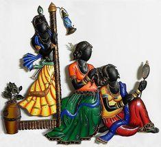 Krishna Peeping at Radha's Sringar - Wall Hanging - Other Metal Statues (Wrought Iron)