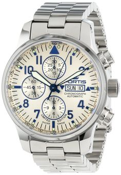 Men Watches : Fortis Men's 701.20.92 M F-43 Flieger Chronograph Beige Dial Automatic Chronograph Date Stainless-Steel Watch