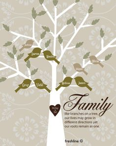 Family Tree - Tree with Birds and Carved Heart with Family Quote - 11x14 Poster Print - Neutral Color Scheme. $40.00, via Etsy.