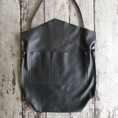 Image of mail bag mitered - black leather [ONE IN STOCK]