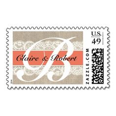 Vintage Lace and Burlap Look Coral Wedding Postage. I love this design! It is available for customization or ready to buy as is. All you need is to add your business info to this template then place the order. It will ship within 24 hours. Just click the image to make your own!