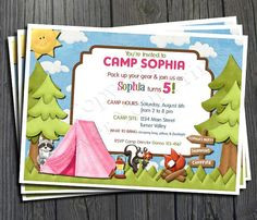 Free printable camping birthday invitations printable camp foreveryourprints birthday invitations camping birthday invitation free thank you card included celebrate your little filmwisefo Image collections