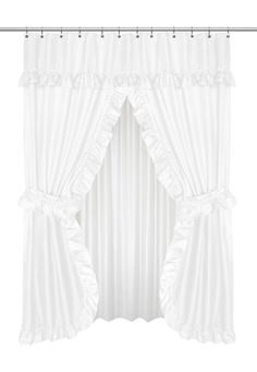 Ruffled Double Swag Shower Curtain With Valance Tie Backs In White