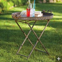 Rustic Bird Tray Folding Table Can always use another table Outdoor Wicker Furniture, Backyard Furniture, Sectional Furniture, Table Furniture, Outdoor Tables, Outdoor Decor, Outdoor Living, Outdoor Fun, Outdoor Spaces