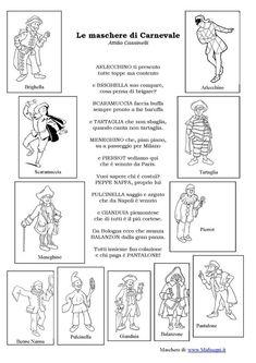 Le maschere di Carnevale Italian Grammar, Italian Language, Teaching Tools, Teaching Kids, Social Service Jobs, Montessori, English Teaching Materials, Italian Lessons, Green School