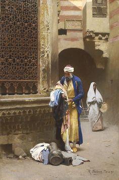 Raphaël Ambros  (1854-1895) Le Marchand d'étoffes Huile sur panneau  signé et daté 1890 en bas à droite 46 x 31 cm  - Galerie Ary Jan