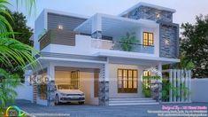 4 BHK stunning 2182 square feet Kerala home design 2182 square feet stunning flat roof contemporary home plan by MS Visual Studio from Thiruvananhapuram, Kerala. House Roof Design, Bungalow House Design, Flat Roof House Designs, House Plans Mansion, Duplex House Plans, 3d House Plans, Indian Home Design, Kerala House Design, Modern Exterior House Designs