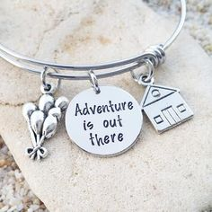 Items similar to Sale - Disney Bracelet - Disney Bangle - Adventure is out there - UP - Bridesmaid Gift - Disney Vacation - Disney Necklace - Disney Gift on Etsy Disney Inspired Jewelry, Disney Jewelry, Disney Rings, Cute Jewelry, Jewelry Gifts, Silver Jewelry, Jewellery, Geek Jewelry, Silver Bangles