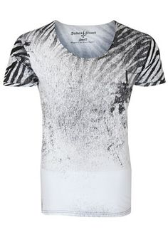 Judas Sinned Zebra Rock Scoop T-Shirt. Raw edge scoop neck fitted tee with all over Zebra print and tonal embroidered cross logo to chest. Available at Dapper Street with Free UK delivery