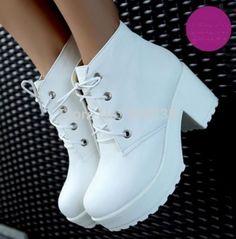 Nouveau mode noir et blanc Punk Rock Lace Up Platform Heels bottines à talons épais plate - forme chaussures