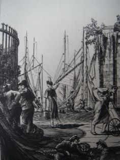 Detail from etching by William Washington, 'Saint Nicholas, La Rochelle' Saint Nicholas, Washington, British, Detail, Painting, Art, Art Background, Painting Art, Kunst