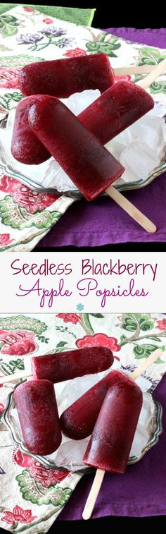 Seedless Blackberry Apple Popsicles have only 2 ingredients and are show stoppers. An easy and naturally sweet refreshment for these hot summer days.