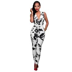e6247c85cba6 Sexy Jumpsuits for Women 2017 Body Femme Rompers Womens Jumpsuit Overalls V  Neck Sleeveless Print Macacao