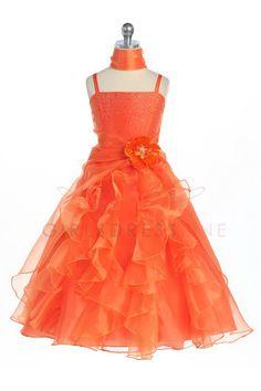 Orange Jeweled Bodice Ruffle Layered Organza Flower Girl Dress