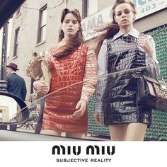 Miu Miu - SUBJECTIVE REALITY  Girls approaching car. East Village, New Year - Stacy Martin, Hailey Gates by Steven Meisel