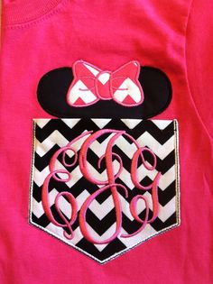 Short Sleeve Chevron Pocket tee M mouse head -great for Disney trips- family shirts available- non sparkly version on Etsy, $23.00