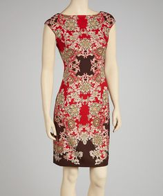Take a look at this London Times Red & Coffee Abstract Cap-Sleeve Sheath Dress - Women on zulily today!
