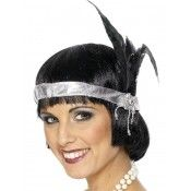 Silver Satin Charleston Headband, with Black Feather and Jewel