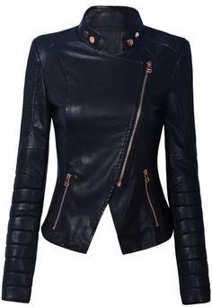 Black Stand Collar Side Zipper Biker Jacket - Sheinside.com fashion, biker jackets, cloth, style, collars, black stand, leather jackets, zippers, stand collar