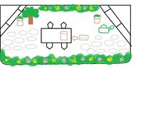 This is the overall stage setting for the garden scene with props