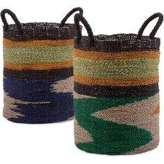 Santa Fe Seagrass Basket Set of 2 ($218) ❤ liked on Polyvore featuring home, home decor, small item storage, woven baskets, mobile home decor, grass basket, seagrass baskets and weave basket