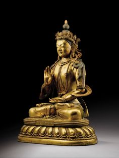 A RARE GILT-BRONZE FIGURE OF BODHISATTVA TIBETO-CHINESE, QING DYNASTY, CAST SEVEN-CHARACTER MARK AND PERIOD OF QIANLONG (1736-1795)