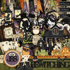 Digital Scrapbooking Kit Bewtiching Halloween  by JssScrapBoutique