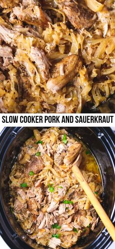 Slow Cooker Pork And Sauerkraut - easy to make nutritious comfort meal perfect for your holiday table or to cook on a snowy winter day. Slow Cooker Kielbasa, Slow Cooker Pork Roast, Slow Cooked Pork, Crockpot Pork And Sauerkraut, Sauerkraut Recipes, Crockpot Meals, Slow Cooking, Pressure Cooking, Kitchens