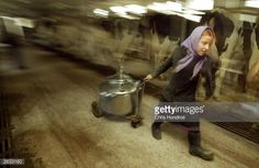 News Photo : Amish girl Elizabeth Stoltzfus drags a container...