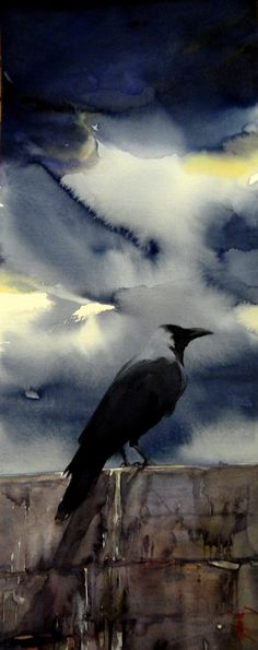 Evocative crow under the weather. Love to credit the artist but it was pinned with no information.