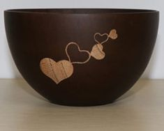 Elegantná miska z tmavého dreva so srdiečkami Decorative Bowls, Tableware, Dinnerware, Tablewares, Dishes, Place Settings