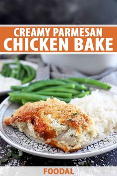 35 minutes · Gluten free · Serves 4 · This creamy parmesan chicken bake is filled with some of the best flavors, the perfect combination of smooth cheese, bold garlic, lively herbs, and tender poultry. With only 6 ingredients and one pan… More Easy Chicken Dinner Recipes, Chicken Parmesan Recipes, Best Chicken Recipes, Baked Chicken, Turkey Recipes, Meat Recipes, Free Recipes, Baking Recipes, Easy Homemade Recipes