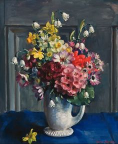 Nora Heysen AM — Spring Flowers, 1956 : The National Gallery of Victoria, Melbourne, Victoria. Spring Bouquet, Spring Flowers, Light Of Life, Still Life Art, Australian Artists, Flower Art, Oil On Canvas, Floral Wreath, Art Gallery