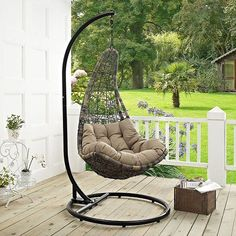 Featuring beautiful rattan style and comfort, the Modway Abate Patio Stand-Alone Swing Chair is a great addition to your porch or patio. With sturdy construction, this wonderful swinging lounge chair stands alone and does not need mounting. Wicker Porch Swing, Outdoor Hammock Chair, Outdoor Patio Swing, Egg Swing Chair, Hanging Egg Chair, Swinging Chair, Swing Chairs, Pergola Swing, High Chairs