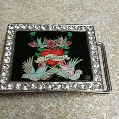 🎉Katy did belt buckle💖 Belt Buckle Roses hearts true love and birds! With rimestones!  New never used without tag Accessories Belts