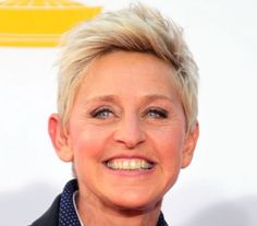 Ellen Degeneres's short blonde hair is cut in a low-maintenance hairstyle. This look is perfect for older women.
