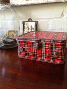 Tartan Plaid  Vintage 1950's-60's Red Plaid Lunch Box. $11.00, via Etsy.