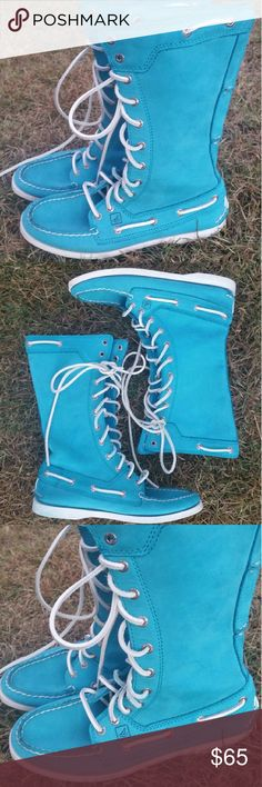 Sperry Top Sider  Leather Lace up Boots Blue 5.5 Sperry Top-Sider Leather Lace up Boots Blue 5.5. Very good gently used condition. Sperry Top-Sider Shoes Lace Up Boots