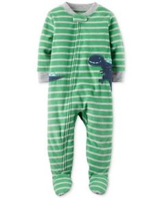 Carter's 1-Pc. Striped Dinosaur Footed Pajamas, Baby Boys (0-24 months) - Stripe 24 months