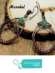 Copper Wire Weave Earrings teardrop dangle Oxidized metal Blue glass green…