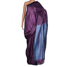 Hand Woven Deep Purple Pure Tussar Silk Saree with Ice Blue Anchal