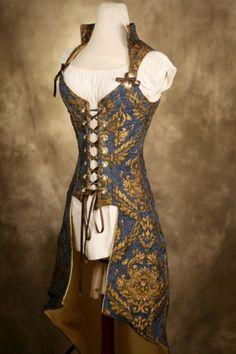 Weste mit Korsett- ähnlichem oberteil in blau gold (Top Design Dresses)