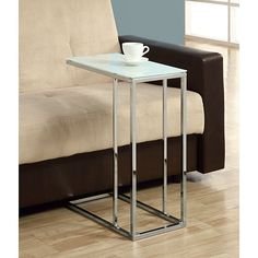 This functional and stylish metal accent table features a bright chrome finish and a sturdy tempered-glass tabletop. It is perfect as a coffee table and looks great in your living or recreation room.