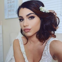 "Wedding Makeup & Hair Romantic Bun Updo with Flowers Natural Classic Bride Flawless Full Coverage Natural Bridal Look 41 Likes, 5 Comments - Kayleigh Noelle (@kayleighnoellexo) on Instagram: ""Filmed this look for you guys! It's going up today I was so nervous / excited about this one..so…"""